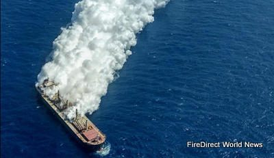British Bulk Carrier Carrying Explosive Fertiliser On Fire