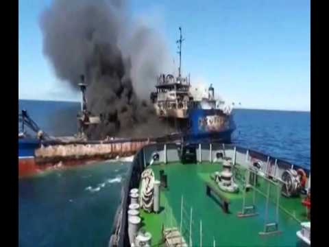 One Killed In Tanker Fire In Caspian Sea – VIDEO