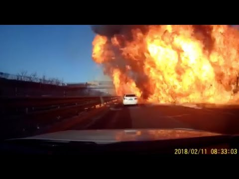 Flames Engulf Highway In China After Gas Tanker Overturns