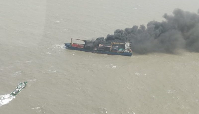 India – Burning Container Ship Grounds, Partially Sinks