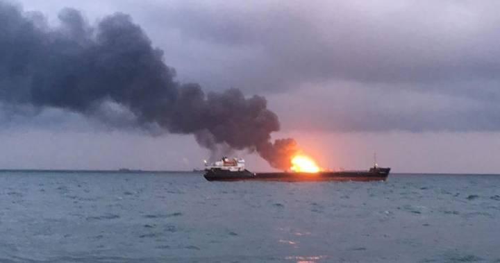 Russia – Fire & Explosion On Two Cargo Ships Off Crimea